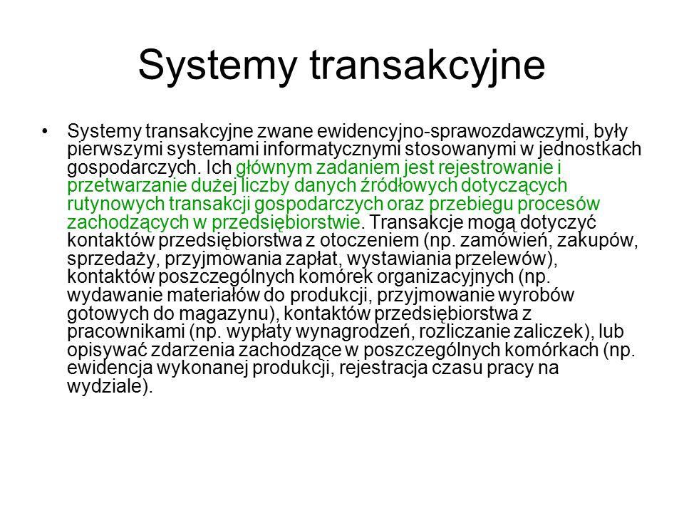 Systemy transakcyjne Systemy transakcyjne zwane ewidencyjno-sprawozdawczymi, były pierwszymi systemami informatycznymi stosowanymi w jednostkach gospo