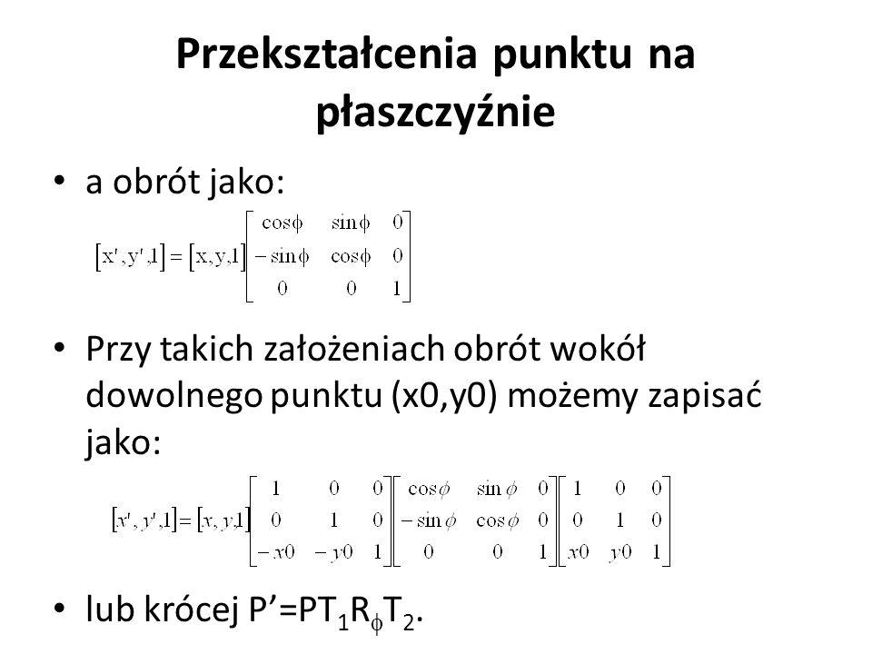 Przekształcenia punktu na płaszczyźnie a obrót jako: Przy takich założeniach obrót wokół dowolnego punktu (x0,y0) możemy zapisać jako: lub krócej P'=P