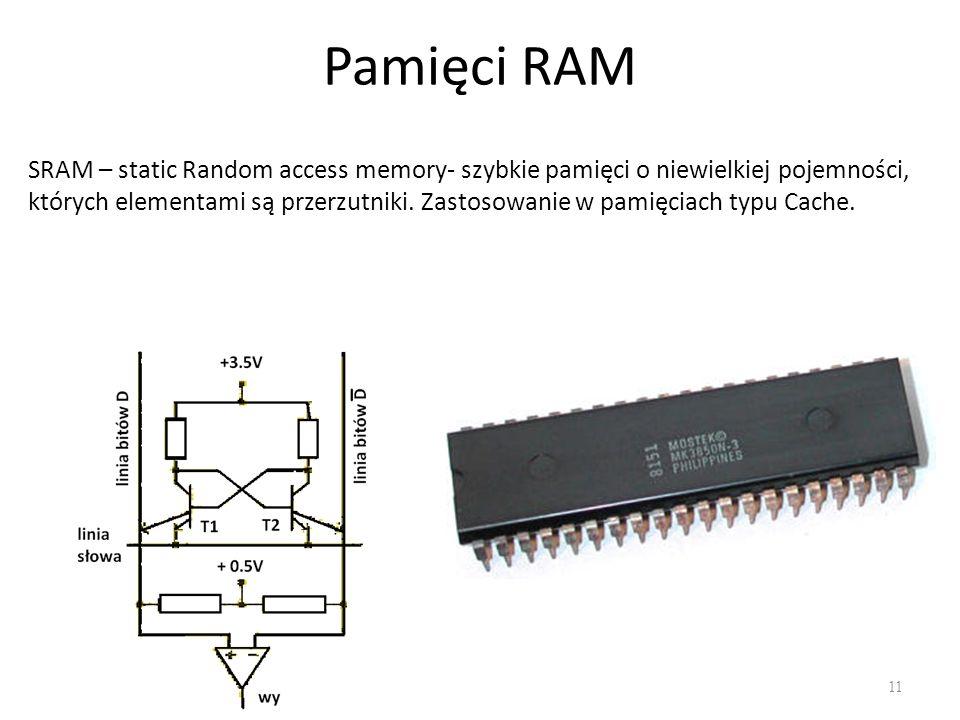 Pamięci RAM 11 SRAM – static Random access memory- szybkie pamięci o niewielkiej pojemności, których elementami są przerzutniki. Zastosowanie w pamięc