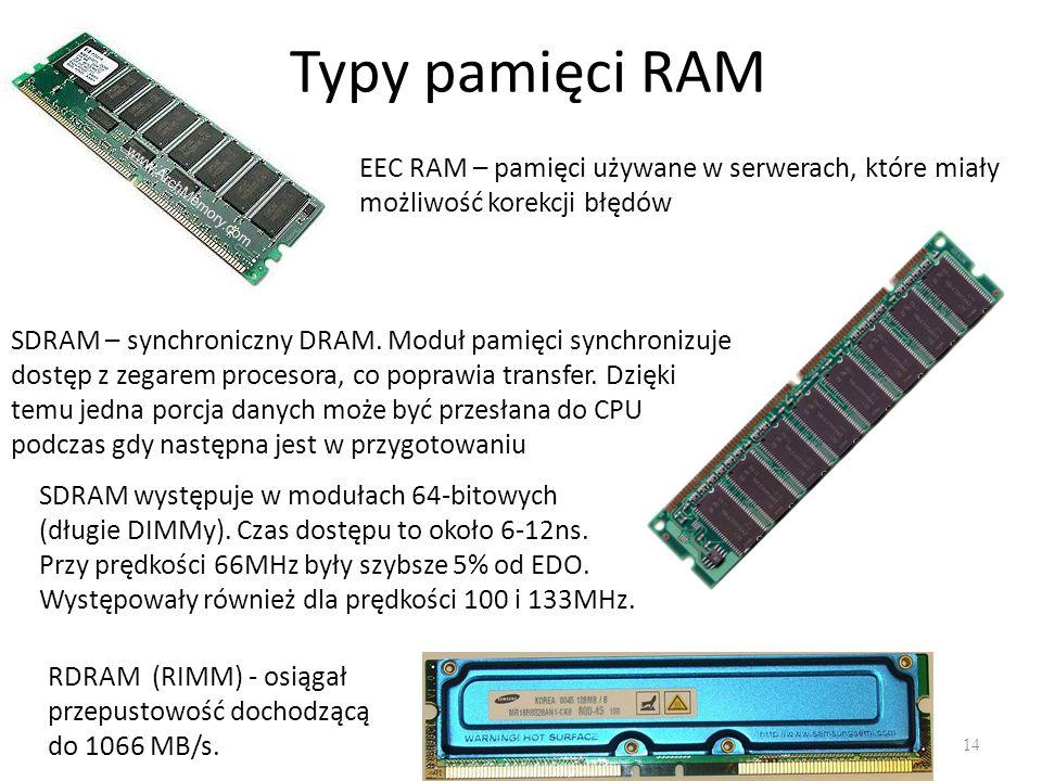 Typy pamięci RAM 14 EEC RAM – pamięci używane w serwerach, które miały możliwość korekcji błędów SDRAM – synchroniczny DRAM. Moduł pamięci synchronizu