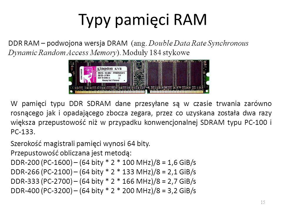 Typy pamięci RAM 15 DDR RAM – podwojona wersja DRAM (ang. Double Data Rate Synchronous Dynamic Random Access Memory). Moduły 184 stykowe W pamięci typ