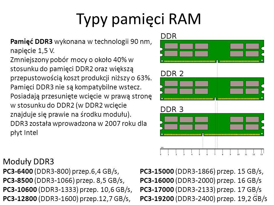 Typy pamięci RAM 18 Pamięć DDR3 wykonana w technologii 90 nm, napięcie 1,5 V. Zmniejszony pobór mocy o około 40% w stosunku do pamięci DDR2 oraz więks