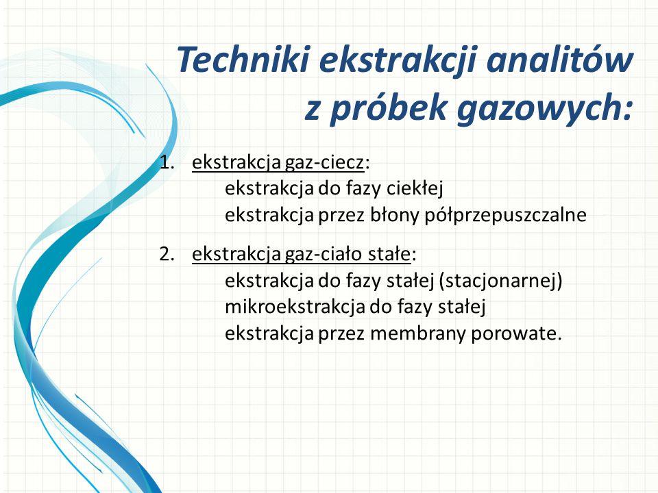 1.ekstrakcja gaz-ciecz: ekstrakcja do fazy ciekłej ekstrakcja przez błony półprzepuszczalne 2.ekstrakcja gaz-ciało stałe: ekstrakcja do fazy stałej (s