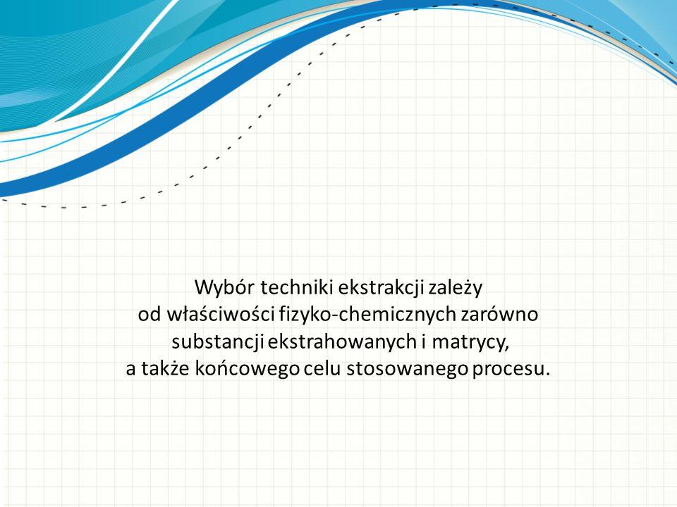 Wybór techniki ekstrakcji zależy od właściwości fizyko-chemicznych zarówno substancji ekstrahowanych i matrycy, a także końcowego celu stosowanego pro