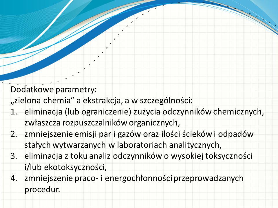 """Dodatkowe parametry: """"zielona chemia"""" a ekstrakcja, a w szczególności: 1.eliminacja (lub ograniczenie) zużycia odczynników chemicznych, zwłaszcza rozp"""