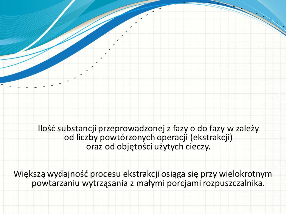 Ilość substancji przeprowadzonej z fazy o do fazy w zależy od liczby powtórzonych operacji (ekstrakcji) oraz od objętości użytych cieczy. Większą wyda