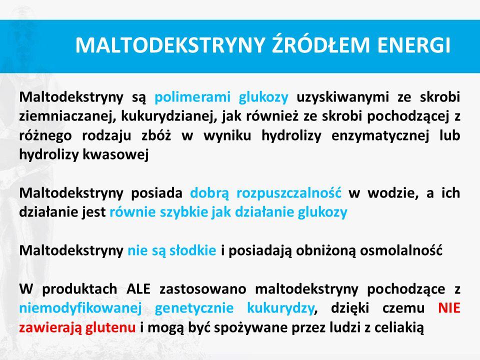 MALTODEKSTRYNY ŹRÓDŁEM ENERGI Maltodekstryny są polimerami glukozy uzyskiwanymi ze skrobi ziemniaczanej, kukurydzianej, jak również ze skrobi pochodzą