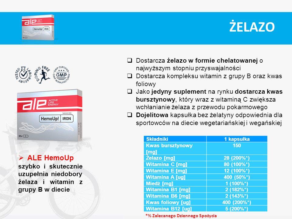 Składniki1 kapsułka Kwas bursztynowy [mg] 150 Żelazo [mg]28 (200%*) Witamina C [mg]80 (100%*) Witamina E [mg]12 (100%*) Witamina A [ug]400 (50%*) Mied