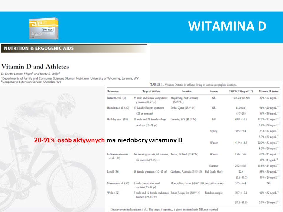 WITAMINA D 20-91% osób aktywnych ma niedobory witaminy D