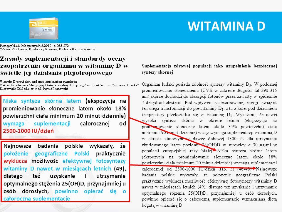 WITAMINA D Suplementacja zdrowej populacji jako uzupełnienie bezpiecznej syntezy skórnej Organizm ludzki posiada zdolność syntezy witaminy D 3. W podd