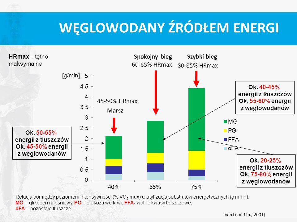 Relacja pomiędzy poziomem intensywności (% VO 2 max) a utylizacją substratów energetycznych (g min -1 ): MG – glikogen mięśniowy, PG – glukoza we krwi