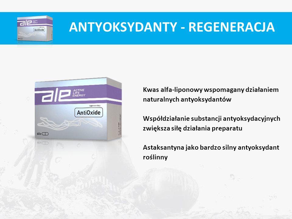 Kwas alfa-liponowy wspomagany działaniem naturalnych antyoksydantów Współdziałanie substancji antyoksydacyjnych zwiększa siłę działania preparatu Asta