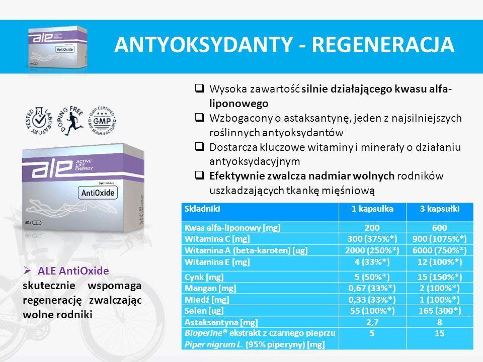  Wysoka zawartość silnie działającego kwasu alfa- liponowego  Wzbogacony o astaksantynę, jeden z najsilniejszych roślinnych antyoksydantów  Dostarc