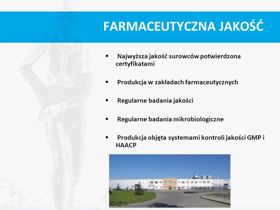 FARMACEUTYCZNA JAKOŚĆ  Najwyższa jakość surowców potwierdzona certyfikatami  Produkcja w zakładach farmaceutycznych  Regularne badania jakości  Re