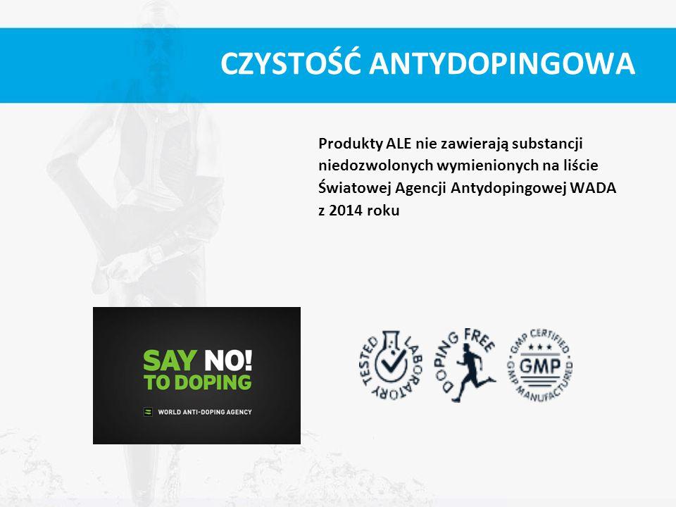 CZYSTOŚĆ ANTYDOPINGOWA Produkty ALE nie zawierają substancji niedozwolonych wymienionych na liście Światowej Agencji Antydopingowej WADA z 2014 roku