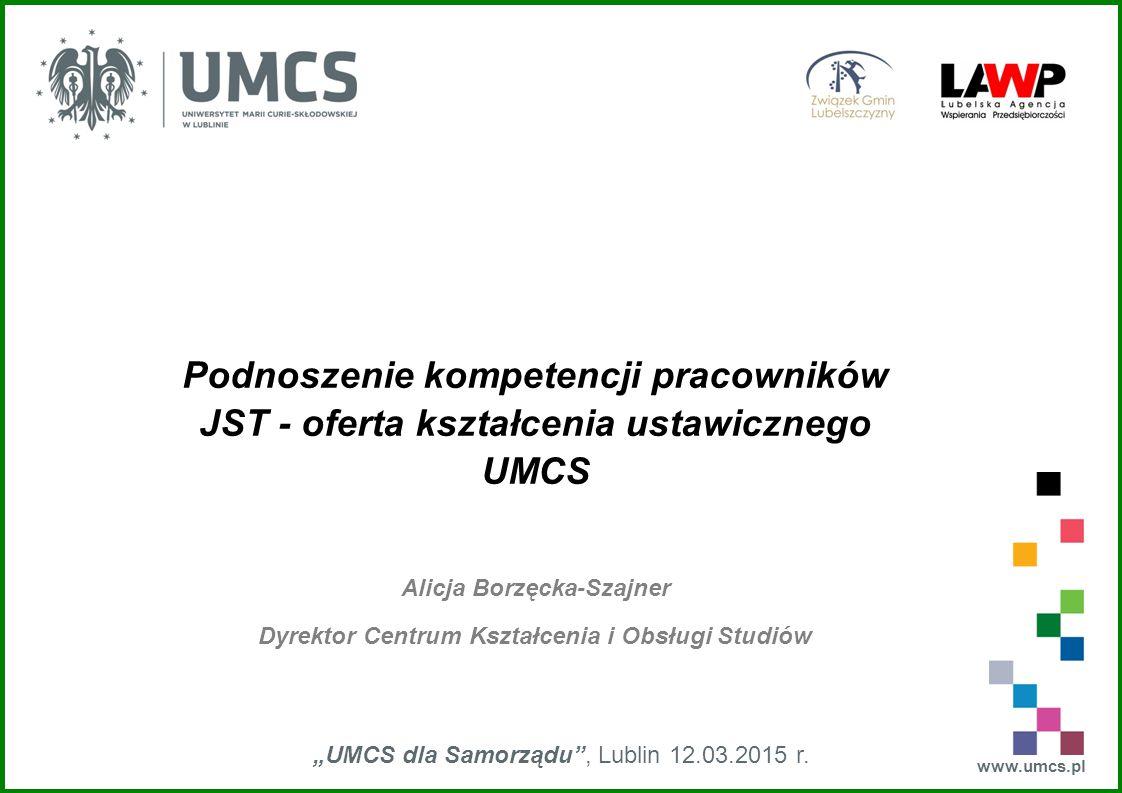 """www.umcs.pl """"UMCS dla Samorządu , Lublin 12.03.2015 r."""