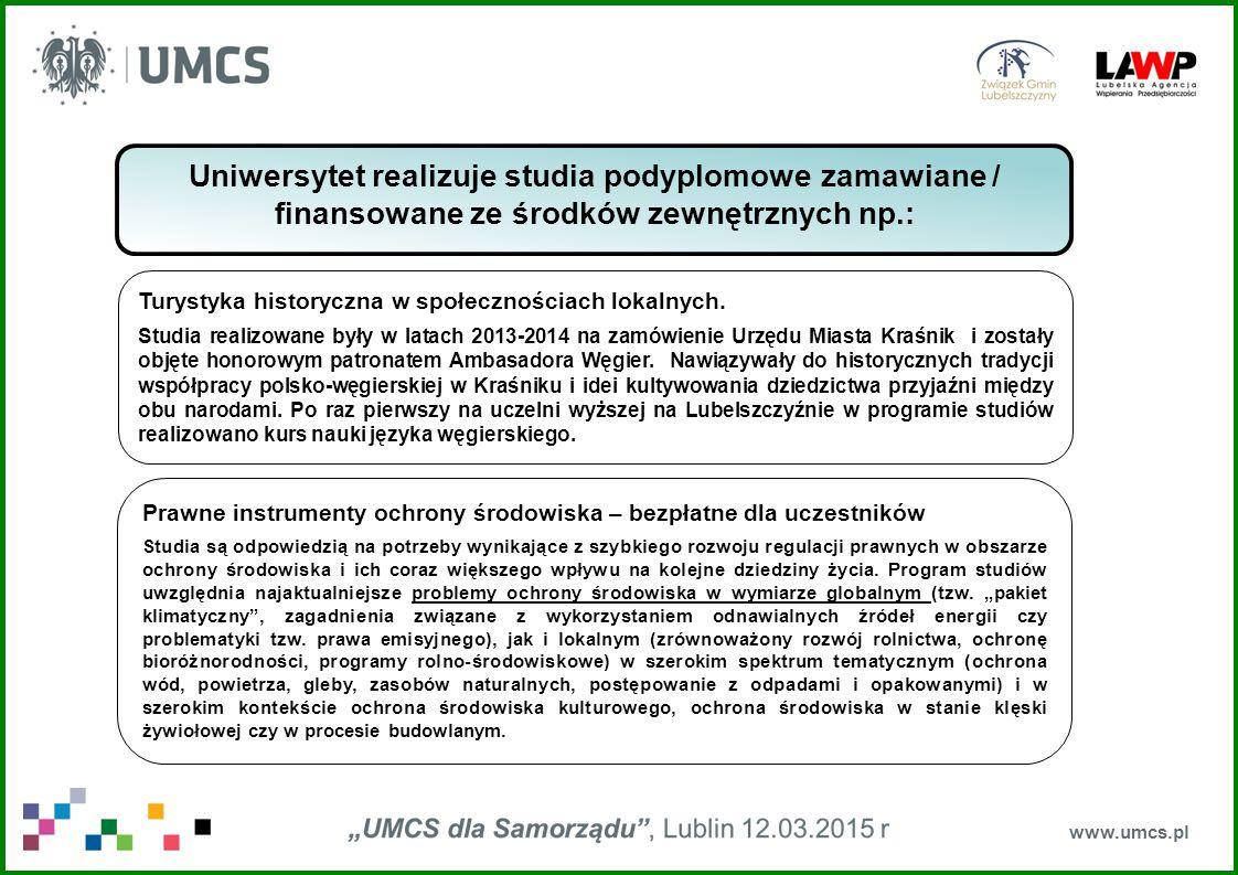 www.umcs.pl Uniwersytet realizuje studia podyplomowe zamawiane / finansowane ze środków zewnętrznych np.: Turystyka historyczna w społecznościach lokalnych.