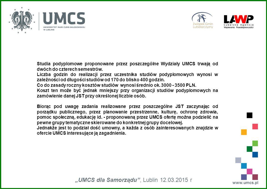 """www.umcs.pl """"UMCS dla Samorządu , Lublin 12.03.2015 r Studia podyplomowe proponowane przez poszczególne Wydziały UMCS trwają od dwóch do czterech semestrów."""