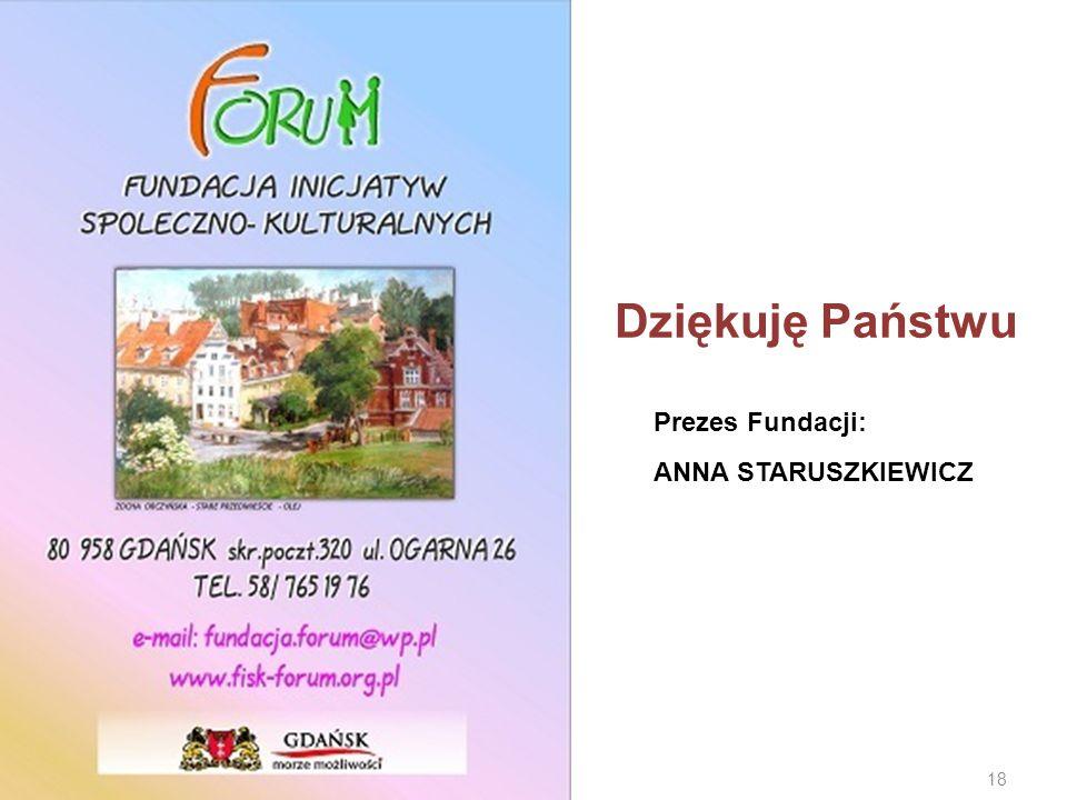 Dziękuję Państwu Prezes Fundacji: ANNA STARUSZKIEWICZ 18