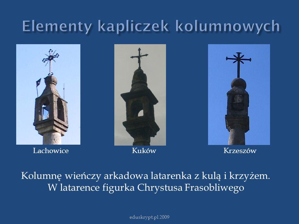 eduskrypt.pl 2009 Lachowice Kuków Krzeszów Kolumnę wieńczy arkadowa latarenka z kulą i krzyżem. W latarence figurka Chrystusa Frasobliwego