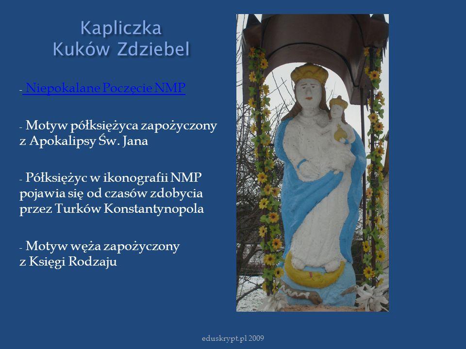 Kapliczka Kuków Zdziebel - Niepokalane Poczęcie NMP Niepokalane Poczęcie NMP - Motyw półksiężyca zapożyczony z Apokalipsy Św. Jana - Półksiężyc w ikon