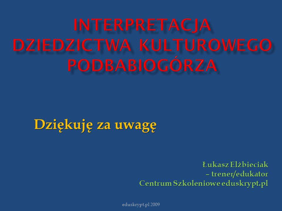 Dziękuję za uwagę Łukasz Elżbieciak – trener/edukator Centrum Szkoleniowe eduskrypt.pl Centrum Szkoleniowe eduskrypt.pl