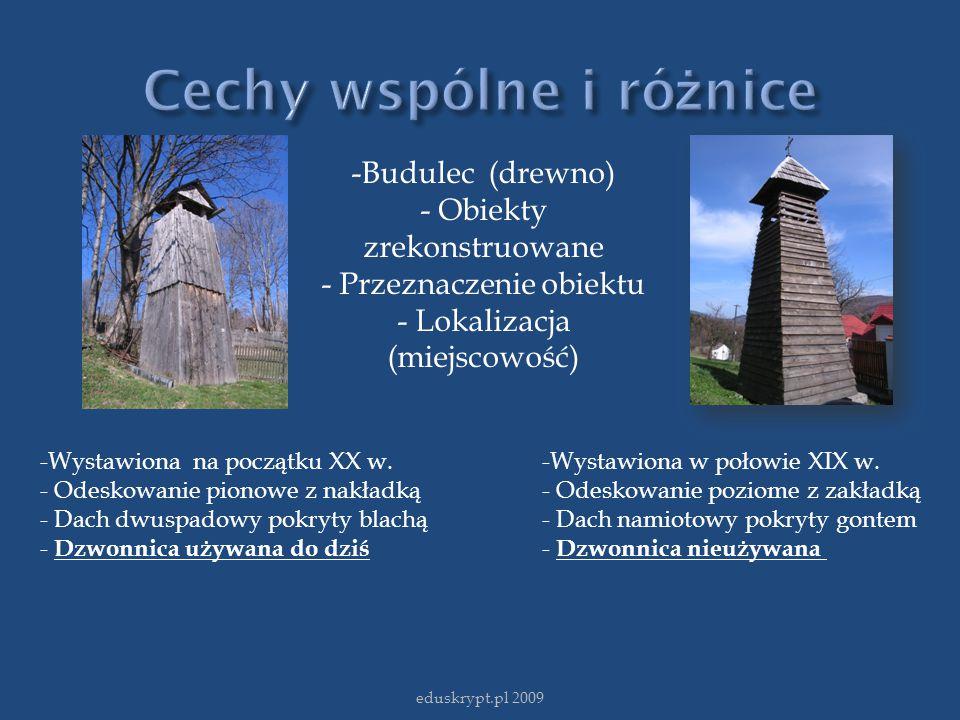 -Budulec (drewno) - Obiekty zrekonstruowane - Przeznaczenie obiektu - Lokalizacja (miejscowość) -Wystawiona na początku XX w. - Odeskowanie pionowe z