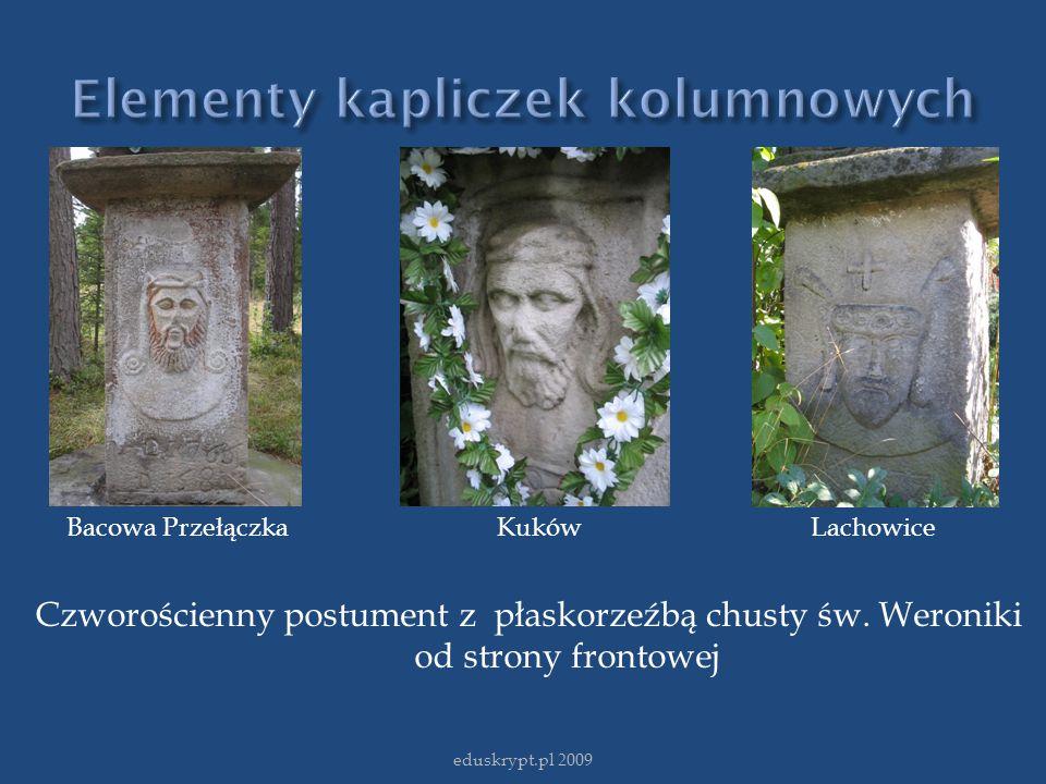 eduskrypt.pl 2009 Bacowa Przełączka Kuków Lachowice Czworościenny postument z płaskorzeźbą chusty św. Weroniki od strony frontowej