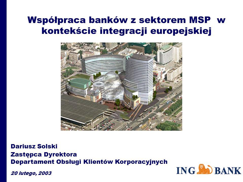 Współpraca banków z sektorem MSP w kontekście integracji europejskiej Dariusz Solski Zastępca Dyrektora Departament Obsługi Klientów Korporacyjnych 20 lutego, 2003