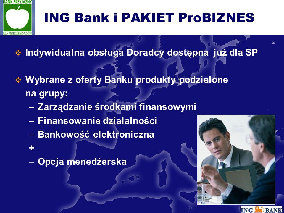  Indywidualna obsługa Doradcy dostępna już dla SP  Wybrane z oferty Banku produkty podzielone na grupy: –Zarządzanie środkami finansowymi –Finansowanie działalności –Bankowość elektroniczna + –Opcja menedżerska ING Bank i PAKIET ProBIZNES