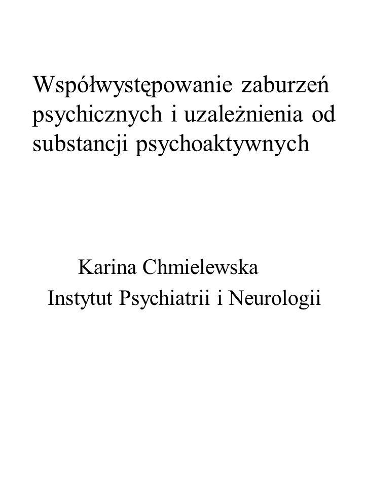Współwystępowanie zaburzeń psychicznych i uzależnienia od substancji psychoaktywnych Karina Chmielewska Instytut Psychiatrii i Neurologii