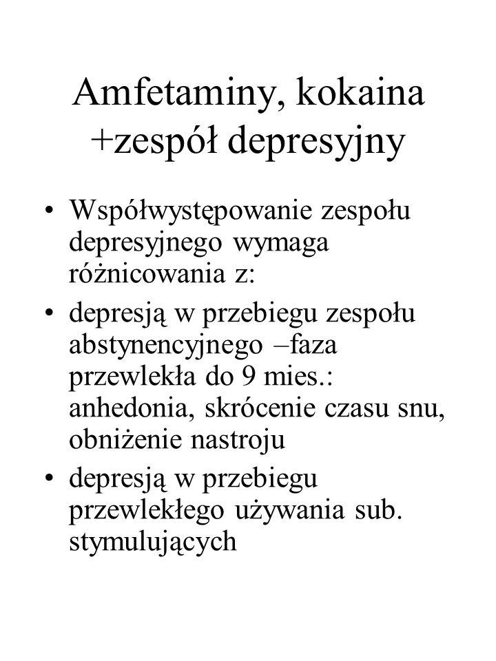 Amfetaminy, kokaina +zespół depresyjny Współwystępowanie zespołu depresyjnego wymaga różnicowania z: depresją w przebiegu zespołu abstynencyjnego –faz
