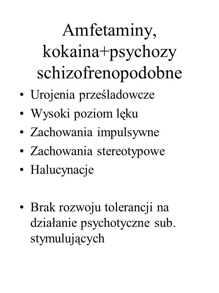 Amfetaminy, kokaina+psychozy schizofrenopodobne Urojenia prześladowcze Wysoki poziom lęku Zachowania impulsywne Zachowania stereotypowe Halucynacje Br