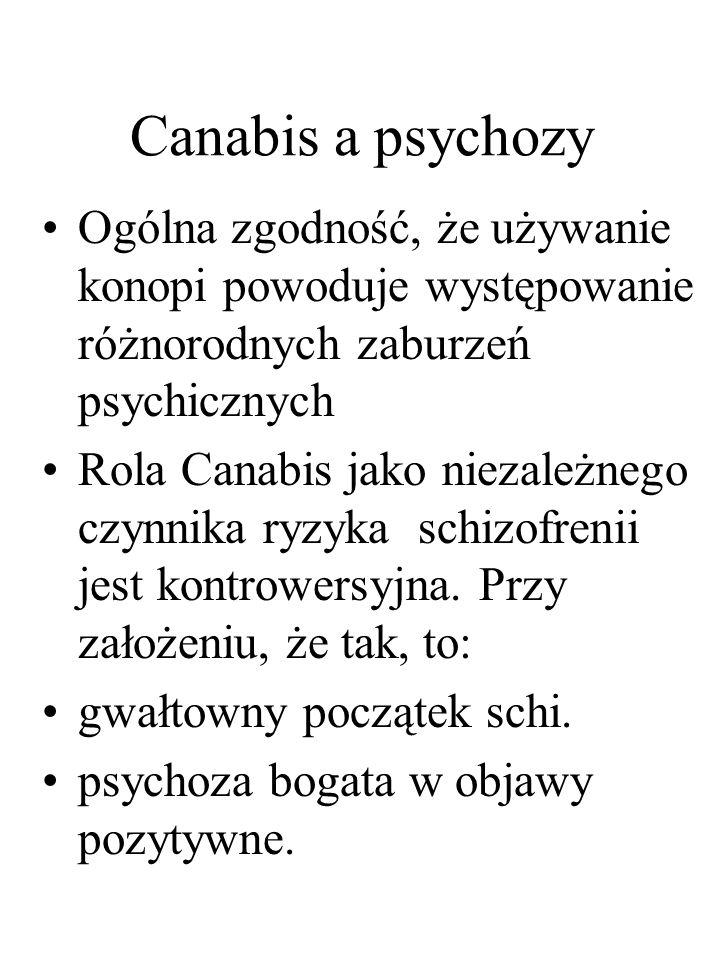 Canabis a psychozy Ogólna zgodność, że używanie konopi powoduje występowanie różnorodnych zaburzeń psychicznych Rola Canabis jako niezależnego czynnik