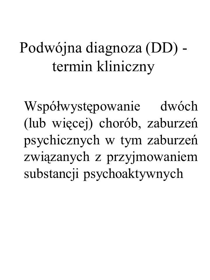 Podwójna diagnoza (DD) - termin kliniczny Współwystępowanie dwóch (lub więcej) chorób, zaburzeń psychicznych w tym zaburzeń związanych z przyjmowaniem
