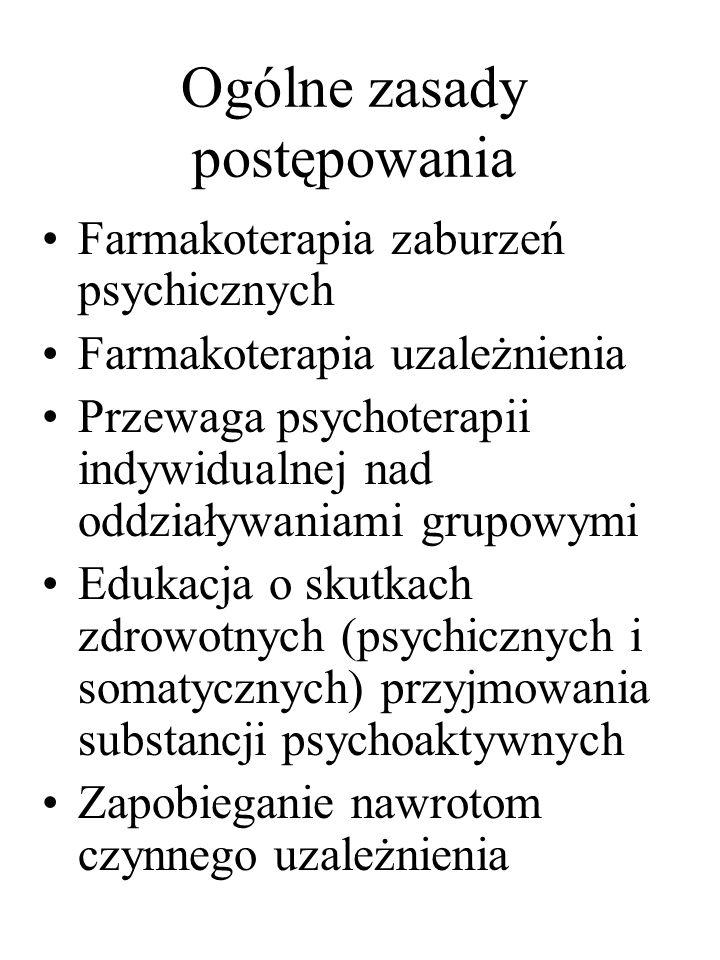 Ogólne zasady postępowania Farmakoterapia zaburzeń psychicznych Farmakoterapia uzależnienia Przewaga psychoterapii indywidualnej nad oddziaływaniami g