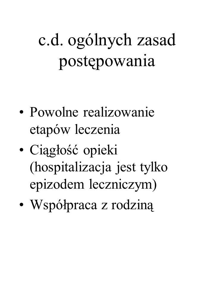 c.d. ogólnych zasad postępowania Powolne realizowanie etapów leczenia Ciągłość opieki (hospitalizacja jest tylko epizodem leczniczym) Współpraca z rod