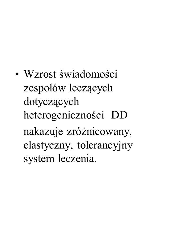 Wzrost świadomości zespołów leczących dotyczących heterogeniczności DD nakazuje zróżnicowany, elastyczny, tolerancyjny system leczenia.