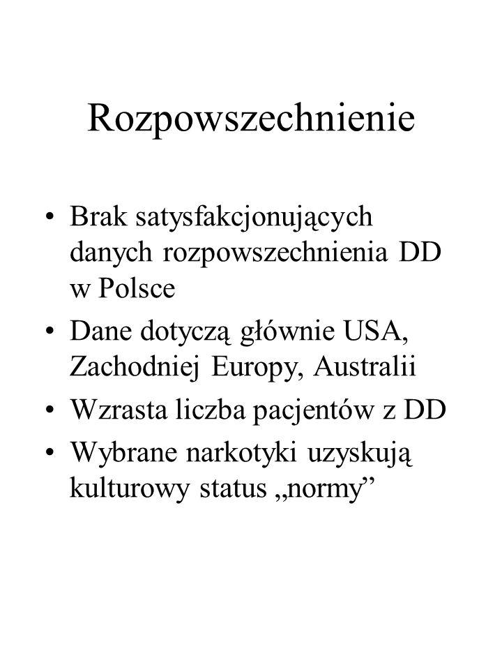 Rozpowszechnienie Brak satysfakcjonujących danych rozpowszechnienia DD w Polsce Dane dotyczą głównie USA, Zachodniej Europy, Australii Wzrasta liczba