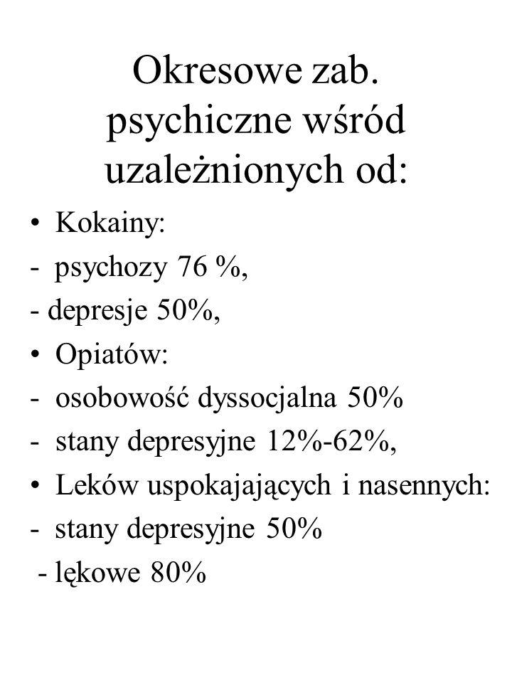 Okresowe zab. psychiczne wśród uzależnionych od: Kokainy: - psychozy 76 %, - depresje 50%, Opiatów: -osobowość dyssocjalna 50% -stany depresyjne 12%-6