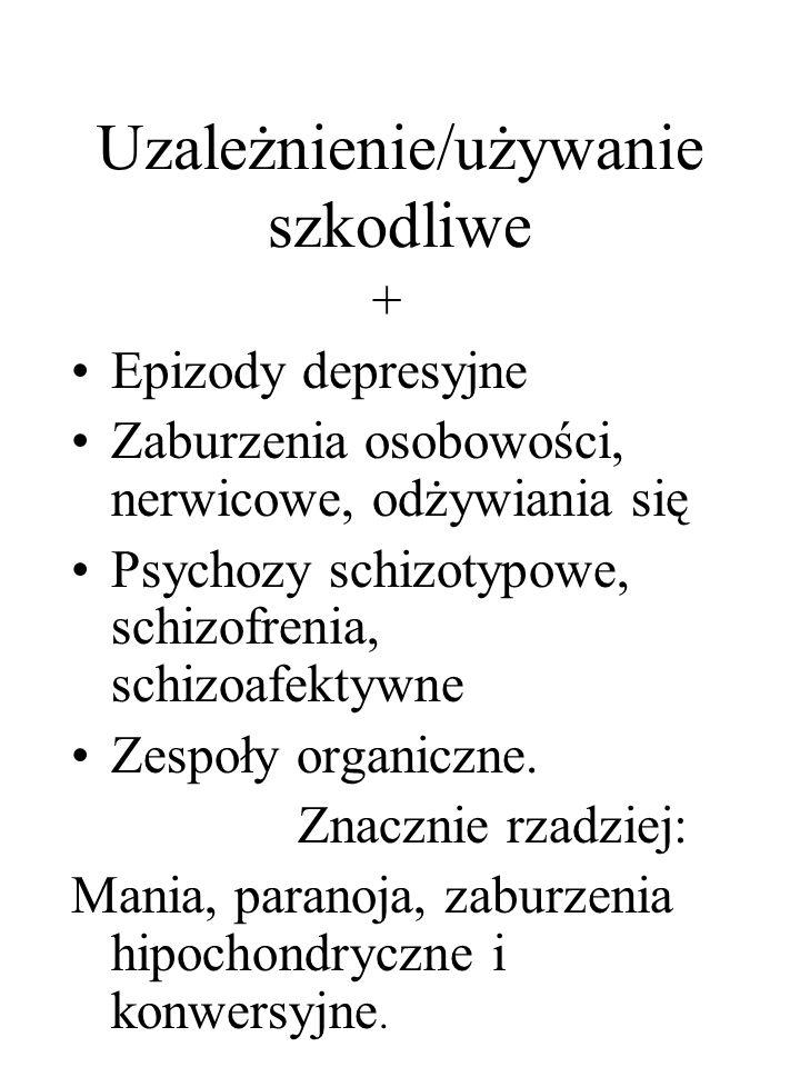 Uzależnienie/używanie szkodliwe + Epizody depresyjne Zaburzenia osobowości, nerwicowe, odżywiania się Psychozy schizotypowe, schizofrenia, schizoafekt
