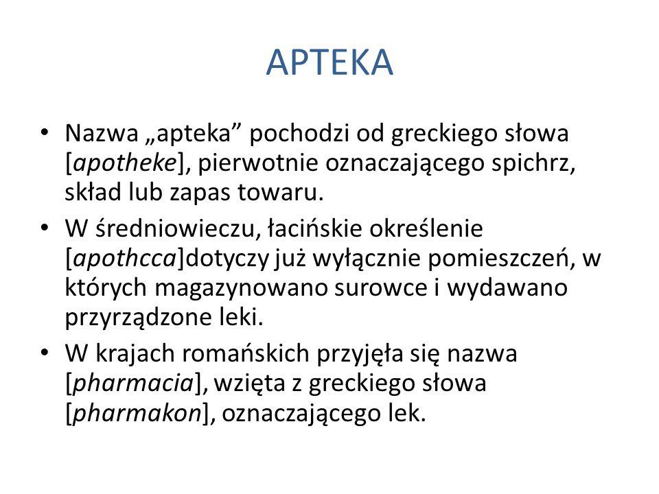 """APTEKA Nazwa """"apteka"""" pochodzi od greckiego słowa [apotheke], pierwotnie oznaczającego spichrz, skład lub zapas towaru. W średniowieczu, łacińskie okr"""