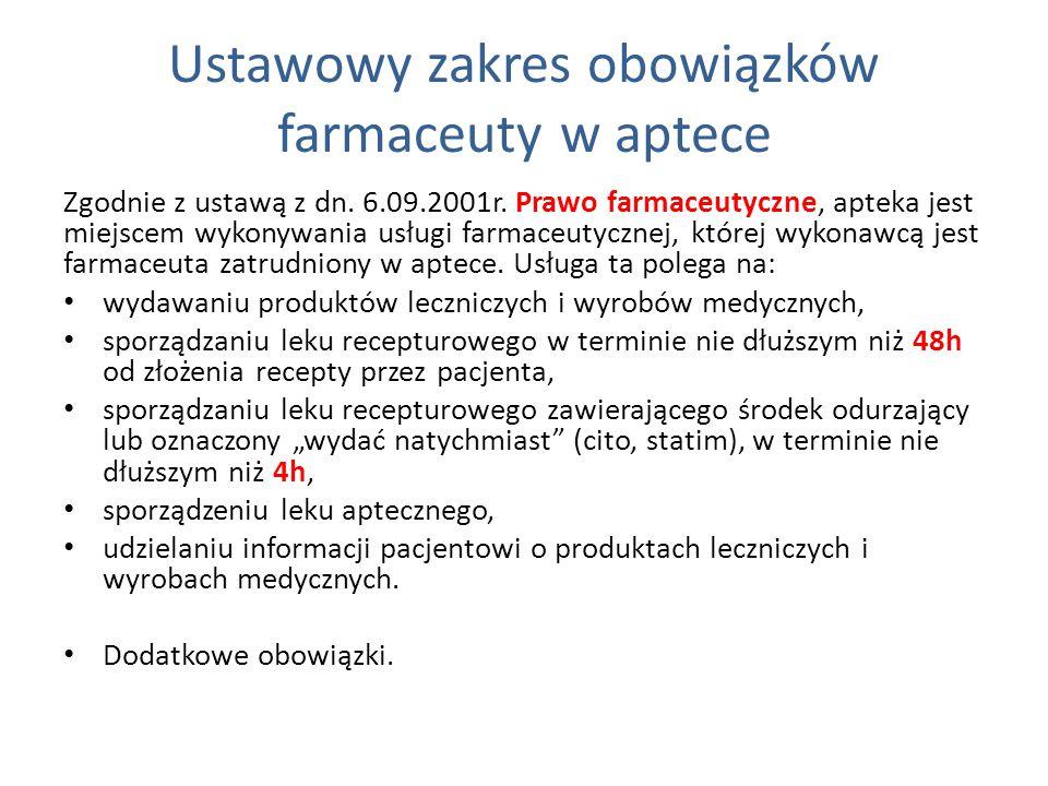 Ustawowy zakres obowiązków farmaceuty w aptece Zgodnie z ustawą z dn. 6.09.2001r. Prawo farmaceutyczne, apteka jest miejscem wykonywania usługi farmac