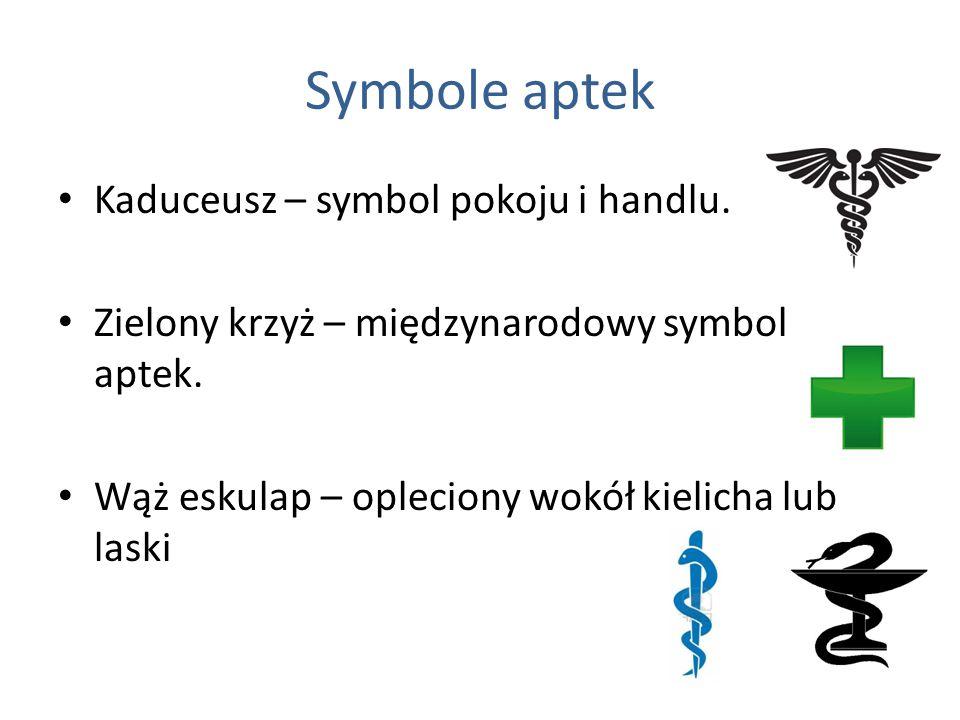 Symbole aptek Kaduceusz – symbol pokoju i handlu. Zielony krzyż – międzynarodowy symbol aptek. Wąż eskulap – opleciony wokół kielicha lub laski