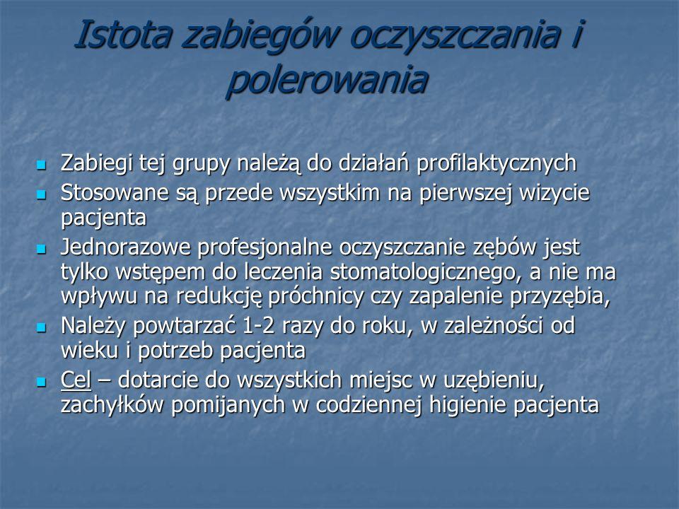 Istota zabiegów oczyszczania i polerowania Zabiegi tej grupy należą do działań profilaktycznych Zabiegi tej grupy należą do działań profilaktycznych S