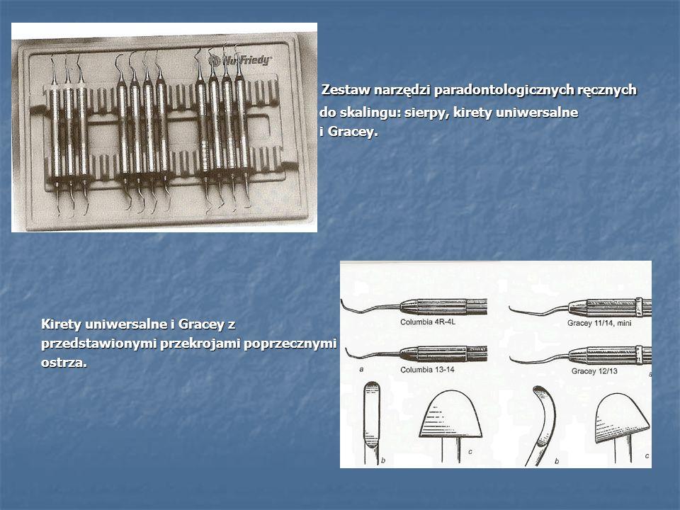 Zestaw narzędzi paradontologicznych ręcznych Zestaw narzędzi paradontologicznych ręcznych do skalingu: sierpy, kirety uniwersalne do skalingu: sierpy,