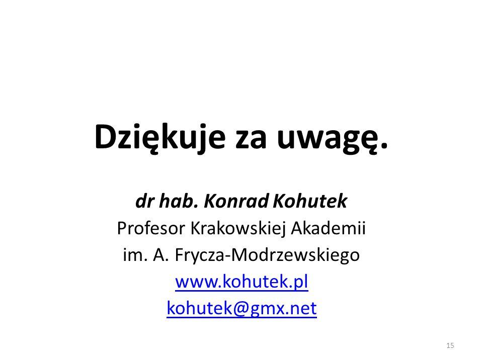Dziękuje za uwagę. dr hab. Konrad Kohutek Profesor Krakowskiej Akademii im. A. Frycza-Modrzewskiego www.kohutek.pl kohutek@gmx.net 15