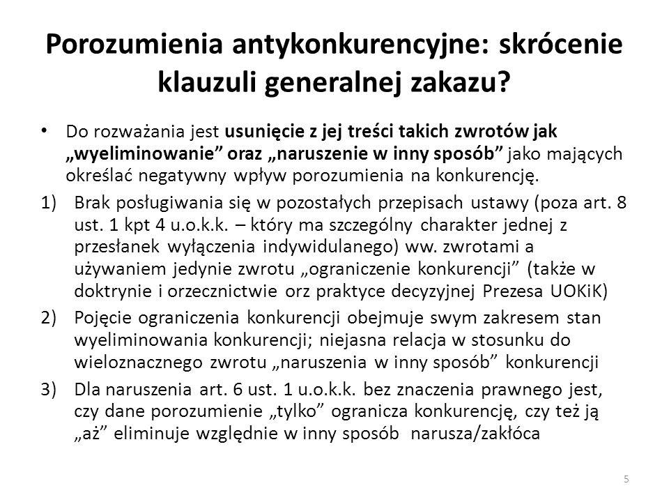 Porozumienia antykonkurencyjne: skrócenie klauzuli generalnej zakazu.