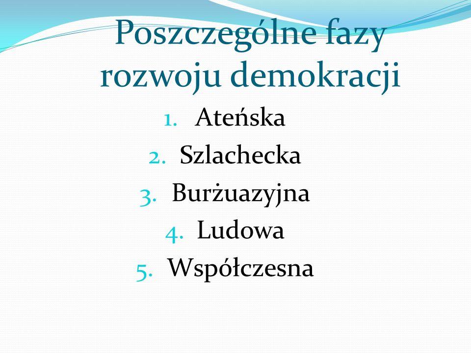 Demokracja pośrednia – obywatele uczestniczą w sprawowaniu władzy w ograniczonym zakresie poprzez udział w wyborach ( np.