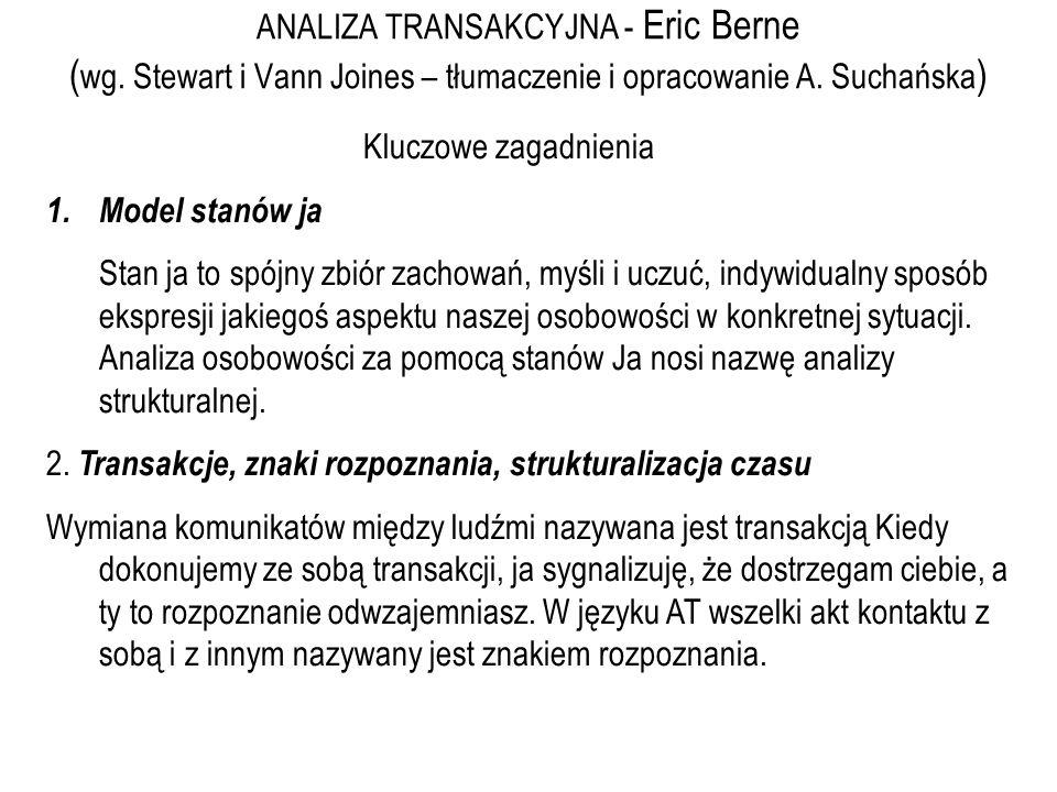 ANALIZA TRANSAKCYJNA - Eric Berne ( wg. Stewart i Vann Joines – tłumaczenie i opracowanie A. Suchańska ) Kluczowe zagadnienia 1.Model stanów ja Stan j
